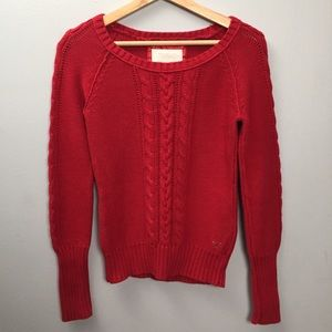 Cable Knit Red Sweater American Eagle Outfitters M